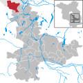 Map location of Schoenefeld, Brandenburg state.