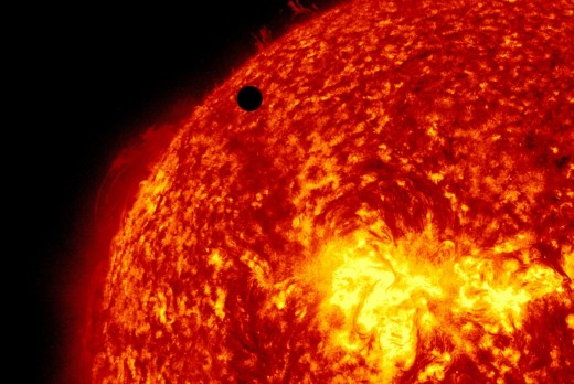 Images from the 2012 transit of Venus event manage to put into perspective the massive size of our own sun in relation to another Earth sized planet.