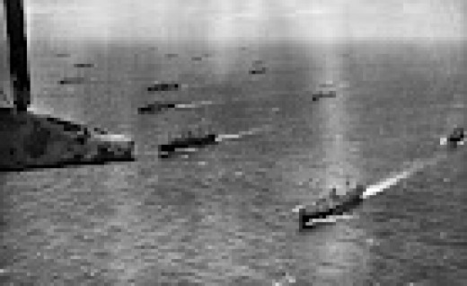 A Convoy sailing in the North Atlantic, WW2., taken from a Sunderland plane.