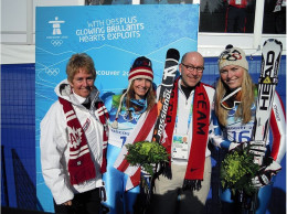 Nancy Greene Raine, 1986 Olympic Alpine Gold Medallist, with Jacobsom, Mancuso and Vonn in Vancouver, 2010.