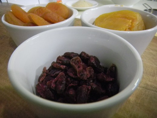 Add any assortment of dried fruits.
