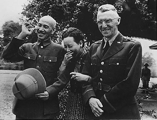 "General Joseph ""Vinegar Joe"" Stilwell with Chiang Kai-Shek and Madam Shek"