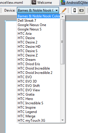 Figure 3: The Flash Builder 4.6 IDE offers  a wide assortment of Android based devices to allow you to test on many configurations.