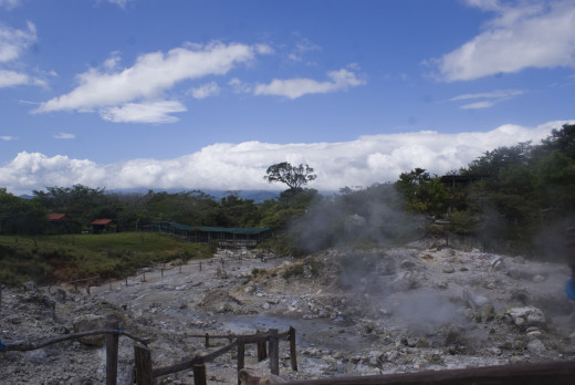 A view of Las Hornillas crater and hot springs, a great place for a day visit.  There are hot springs pools, a bar, a restaurant and you can do tours on horseback or or a walk to a beautiful waterfall nearby.