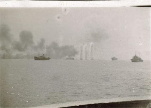A British Salvo falls short during the Battle of Dakar