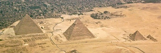 Aerial view of the Great Pyramids at Giza.