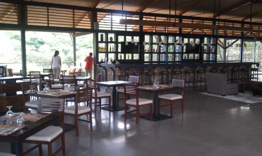 The dining area and bar.  This area is very spacious.  The architecture of the building is stunning.
