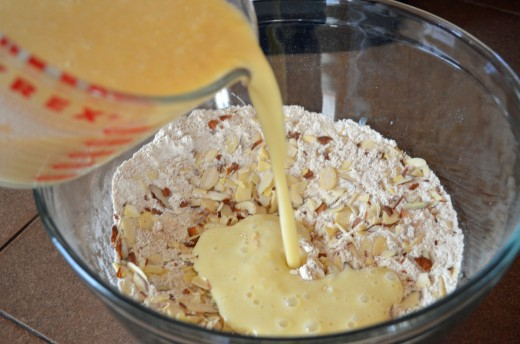 Add liquid mixture to dry mixture and stir gently but do not overmix.