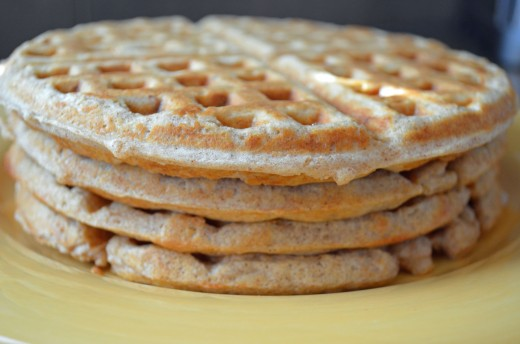 Voila--delicious nutritious oat whole wheat almond waffles cooked just right!