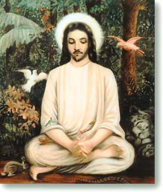 Jesus Meditating in the Forest. This painting was commissioned by Swami Trigunatitananda, the disciple of Sri Ramakrishna, based on a painting he saw in a monastery in Tibet where he was shown an ancient text which documented Jesus' stay there.