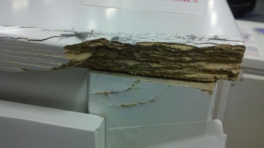 Fiber board looks like stacks of cardboard