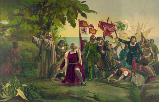Famous painting depicting Columbus's landfall in the New World.