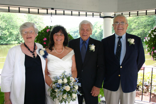My # 5 and # 6 joys: My parents, here with us on our wedding day, 8/1/2012.