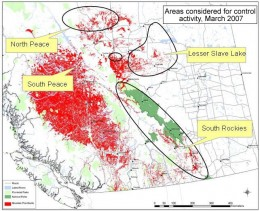 This map shows the 2007 to 2010 spread of the spruce of mountain pine beetle. During the winter of 2206-07, winds carried it over the Rockies to points east. Mild winters of the decade did not help in control.