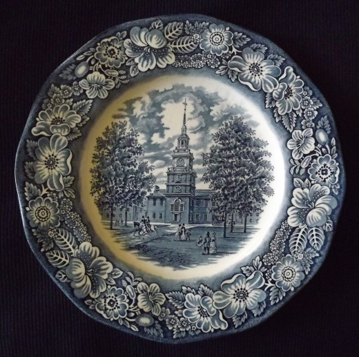 Staffordshire Ironstone Liberty Blue Dinner Plate--Independence Hall