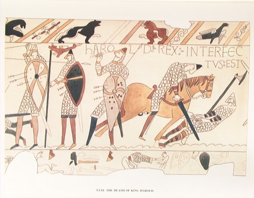 The Bayeux Tapestry showing king Harold II, third from the left grasping an arrow in his eye.