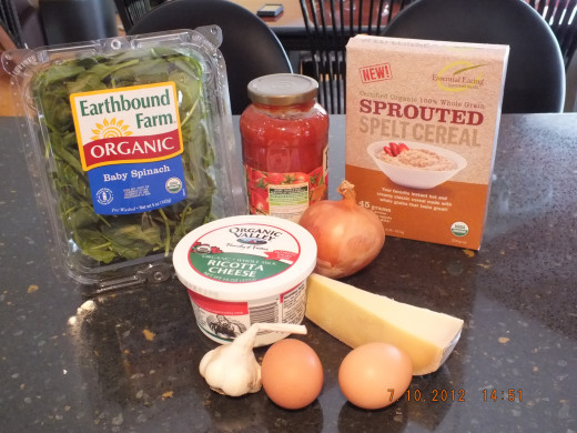 Gathering the ingredients. The spinach is in what is called a clamshell container just in case you were wondering what I was referring too.