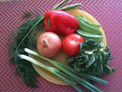 Vegetable ingredients - Spanish onion, scallion, red bell pepper, tomato, snow peas, bok choy, fresh dill