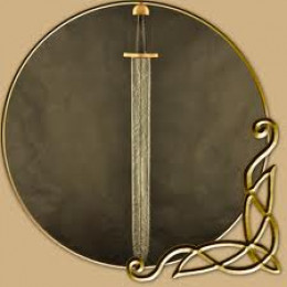 Larp or short-sword against the back of a shield. A shorter sword was more useful in the press of shield-wall against shield-wall
