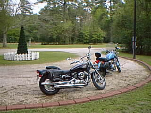 Bikes resting after a long ride (Yamaha V-Star and Triumph Thunderbird)