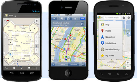 Google Maps for mobile screenshots showing also the iPhone 4 running it, which would not be possible in the same way if the device is updated to iOS 6.
