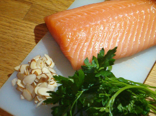 Salmon, almonds and parsley