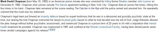 Glimse at Mark David Chapman's Life (Photo Credit: Wikipedia -using Capture-a-Screenshot)
