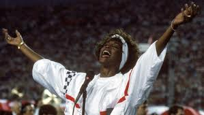 """Late New Jersey Native, Whitney Houston belts out the US Anthem at 1991 Superbowl  became a classic version of """"The Home of The Free""""... She donated her proceeds to Desert Storm troops in Kuwait."""