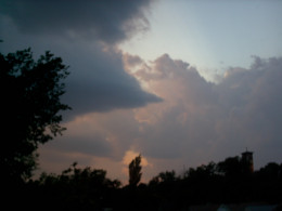darkening clouds, pushed by stormy winds and lightning's flash, in thunders, loud.