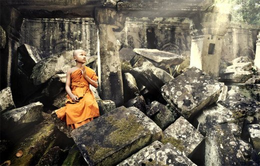 A monk praying.