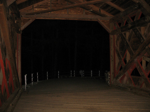 This is the Sach's Bridge in Gettysburg. Residents and tourists have said they have seen  visions of a man hanging from the rafters of this dark bridge.