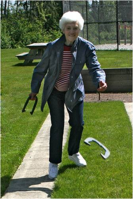 Exercise, Playing Horseshoes - helps Balance and Gait issues - Plus, It's Fun!