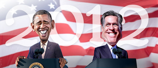 Mssrs. Obama and Romney in caricature.  Image by DonkeyHotey, courtesy Wikimedia Commons.