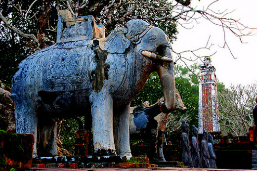 Elephant sculptor at a mausoleum in Hue, Vietnam
