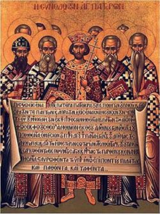 Icon depicting the First Council of Nicea