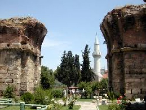 View through the remaining columns of an ancient Byzantine Church in Philadelphia. Photo by Holyland/photo.org