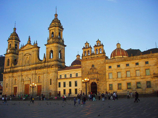 This photograph of the Primate Cathedral of Bogotá, taken on June 9, 2004, has been released into the public domain worldwide by the photographer, Kinori.