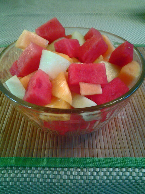 Fresh cut melons. Watermelon, Honeydew melon and Cantaloupe