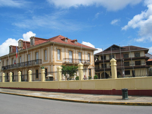 This photograph of the Town Hall in Cayenne, French Guiana, taken in 2003, has been released into the public domain worldwide by the photographer, Raybx973.