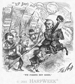 """We Fight Mit Sigel"" in Harpers Weely, November 6, 1869 by Thomas Nast"