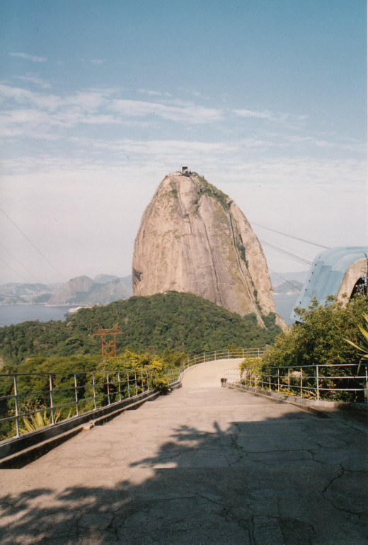 Sugarloaf Mountain (Pão de Açúcar) in Rio de Janeiro, Brazil. The mountain is 1299 feet (396 meters) above the harbor at Guanabara Bay. After this photograph was taken, the author rode a cable car to the top of the mountain.