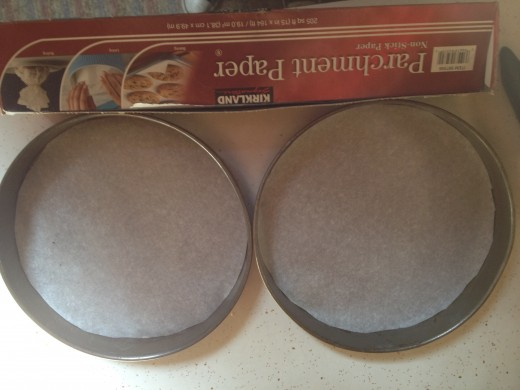 """9"""" pans with oiled parchment paper"""