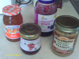 Peanut butter with a variety of jelly & jam