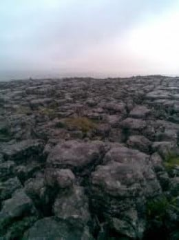 onward and upward over a limestone 'pavement', a relic of ages past.