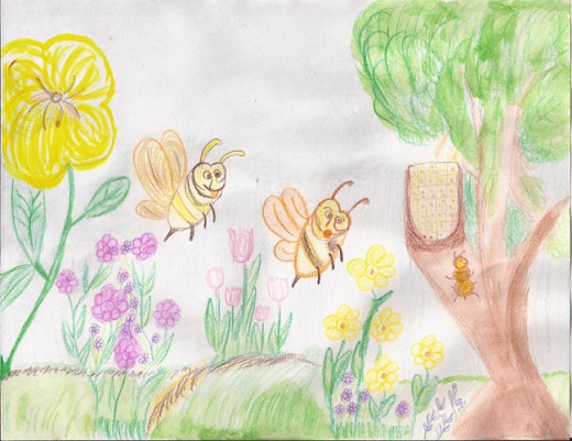 The honeybees noticed a hungry ant covered in pollen dust. They were shocked and didn't know what to do.