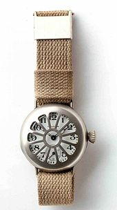 Early wrist watch by Waltham, worn by soldiers in World War I
