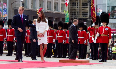 "HRH The Duke and HRH The Duchess of Cambridge (""William & Kate"") inspecting the Governor General's Foot Guards, arriving at Parliament Square, Ottawa, July 2011"