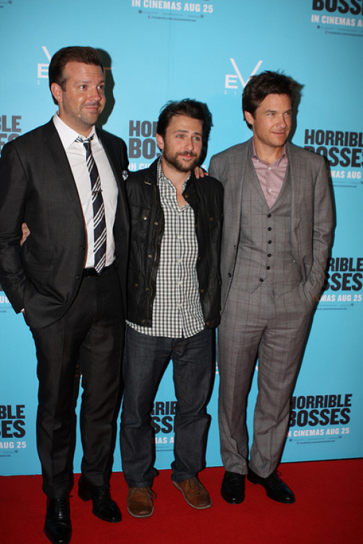 (from left) Charlie Day; Jason Sudeikis, and Jason Bateman.