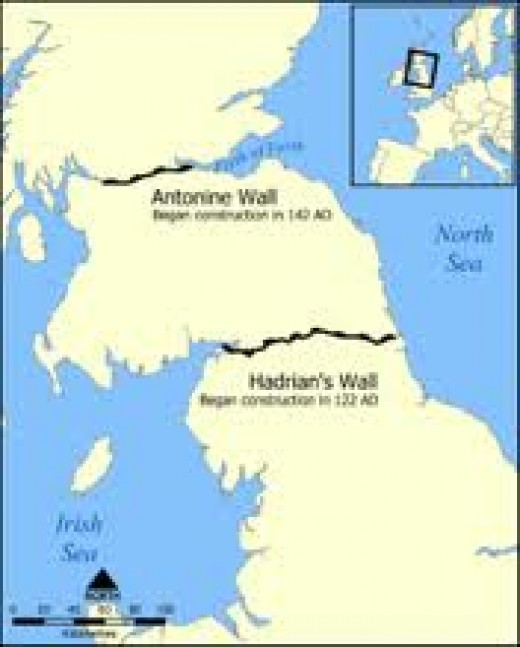 The locations of Hadrian's Wall between the Tyne in the east and the Solway Firth in the west and the Antonine Wall between the Forth and the Clyde - the latter was built AD142, abandoned after two decades