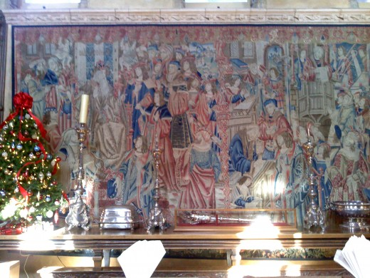One of the many tapestries the hanging through the house